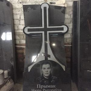 Крест из гранита с портретом белый