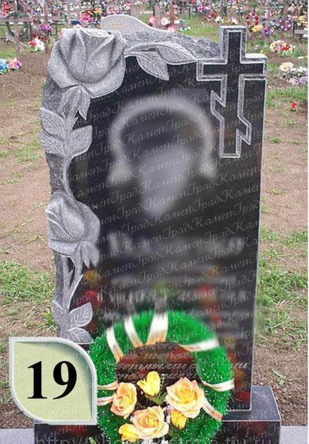 Памятник крест в розах №19