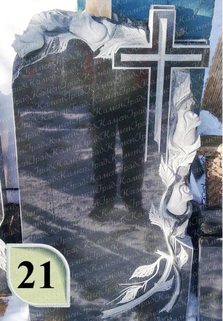 Памятник крест в розах №21