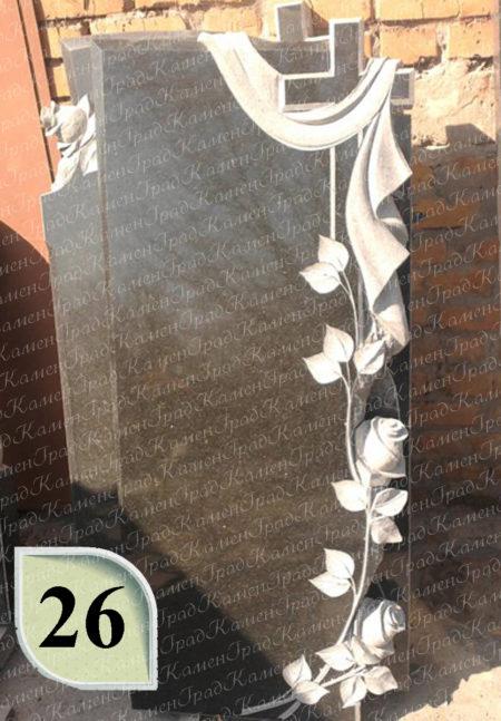 Памятник крест в розах №26