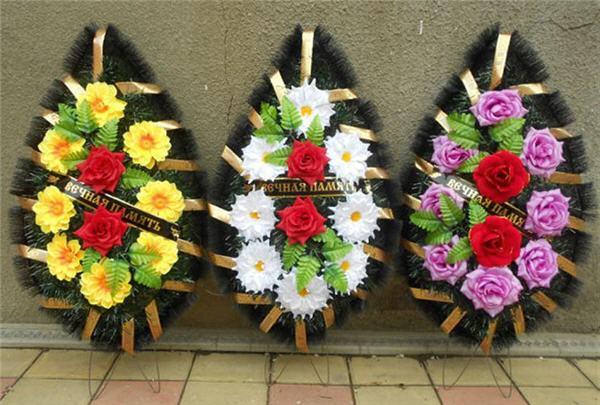 Венки и корзины из искусственных цветов